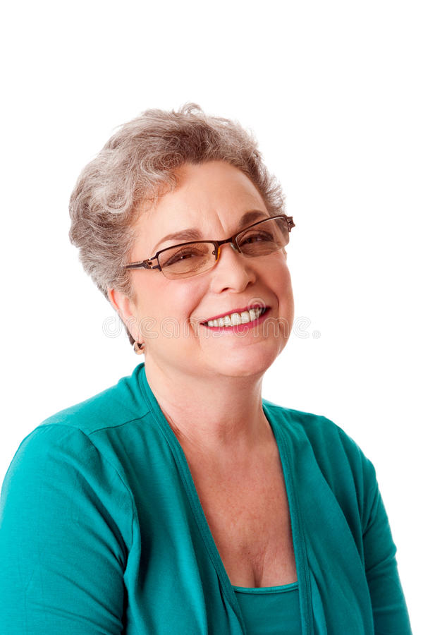 美丽的表面愉快的高级微笑的妇女 免版税库存图片