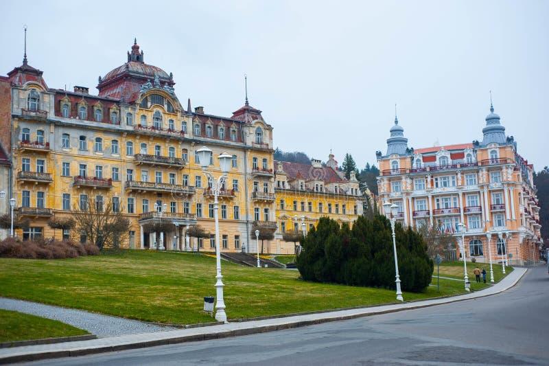 美丽的被放弃的旅馆在Marianske Lazne, Marienbad 库存照片