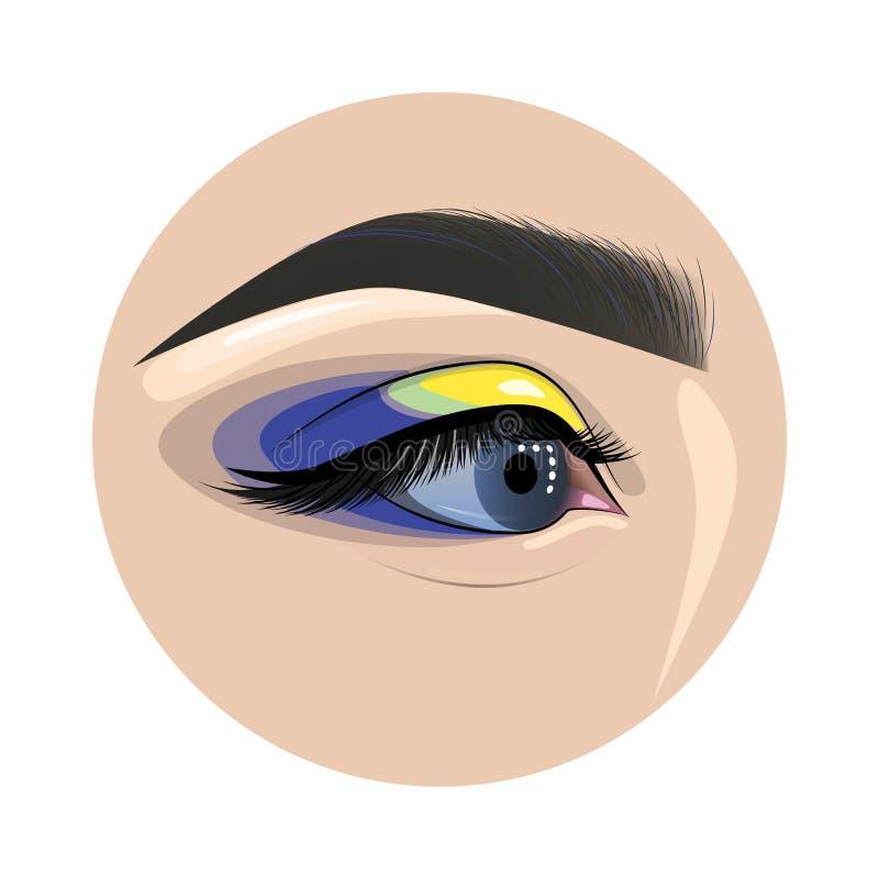 美丽的被绘的女性眼睛和眼眉时尚的设计 皇族释放例证