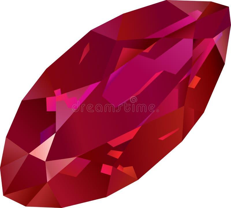 美丽的被隔绝的红色红宝石 库存例证