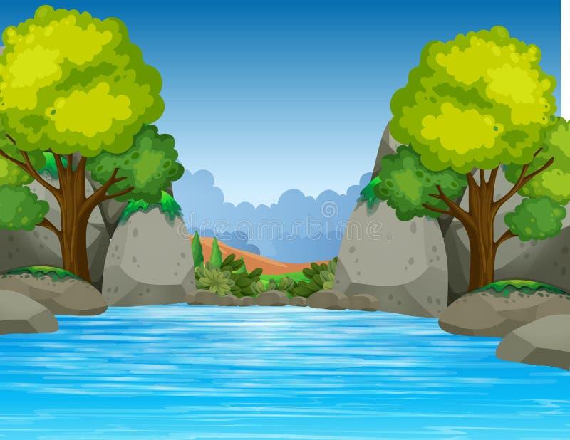 美丽的谷的大池塘 向量例证