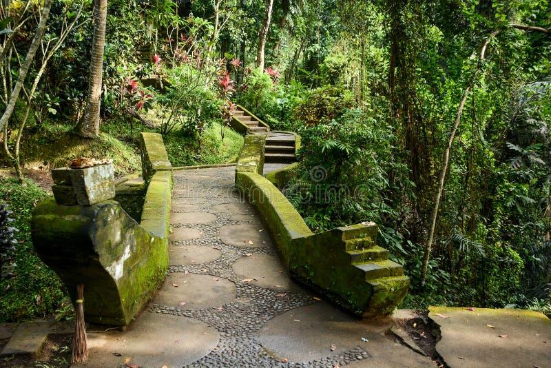 美丽的走道在巴厘语庭院,巴厘岛,印度尼西亚里 图库摄影