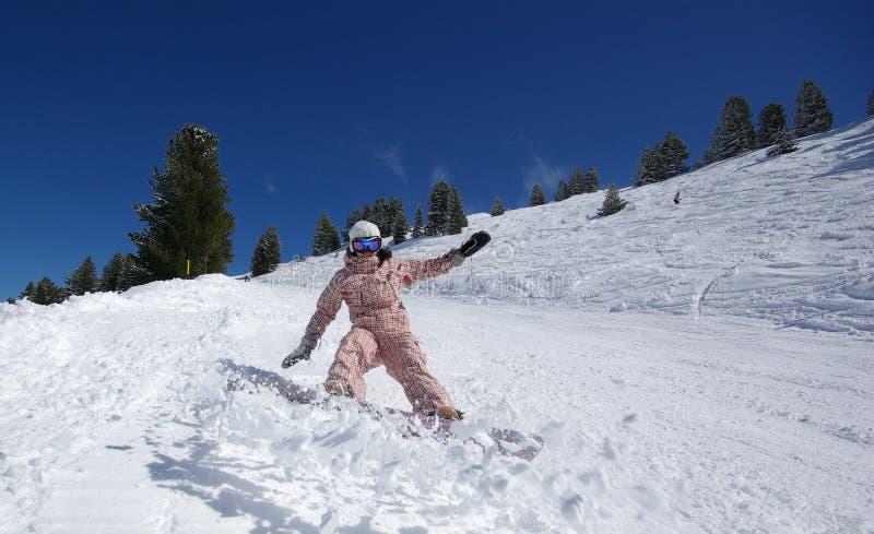 美丽的跳的挡雪板 库存图片
