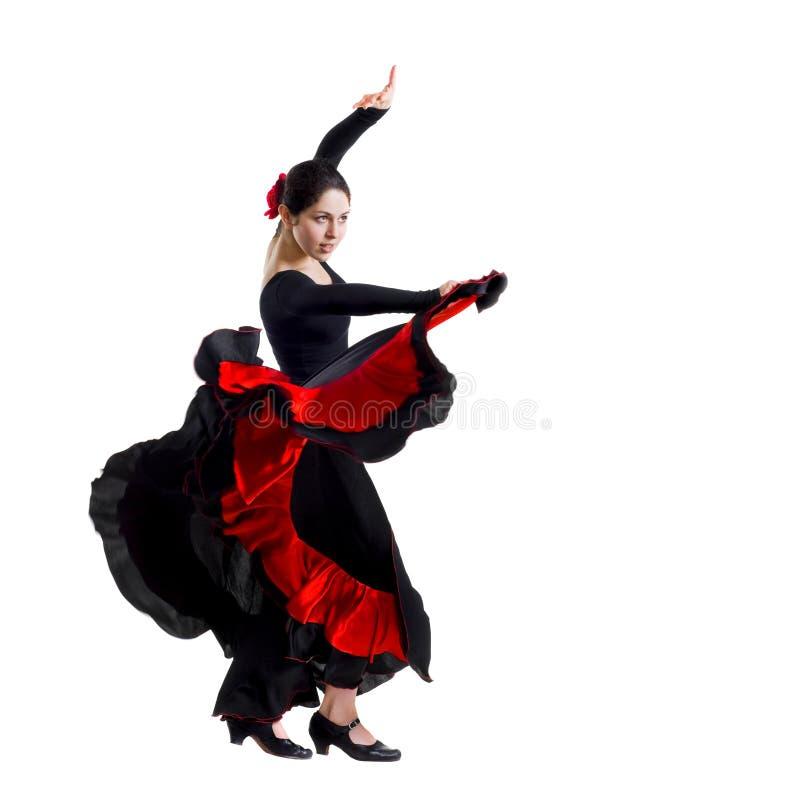 美丽的跳舞佛拉明柯舞曲妇女年轻人 库存照片