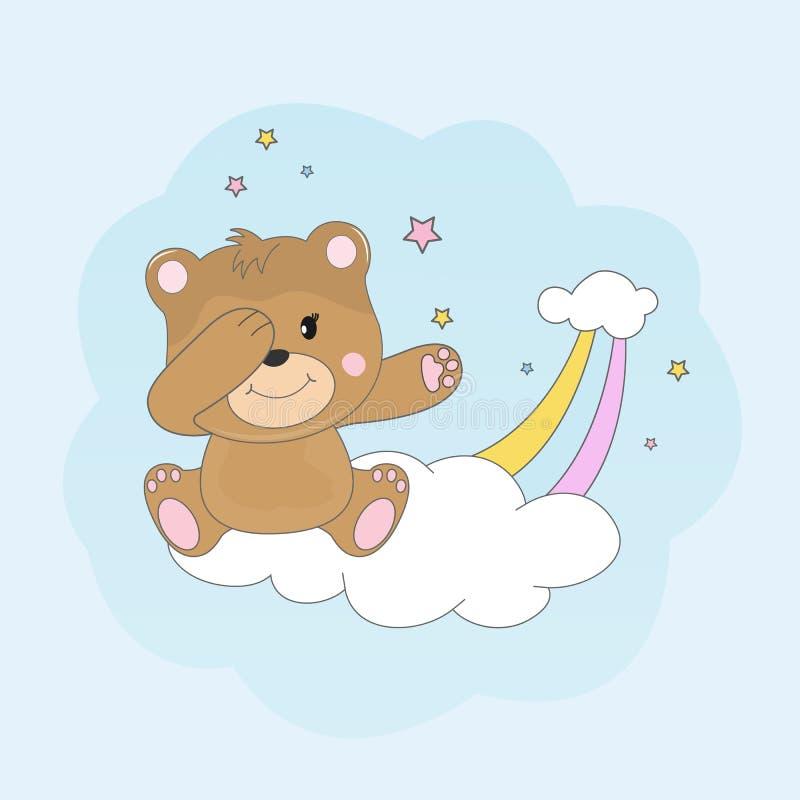 美丽的轻打的熊坐爱云彩和梦想  库存例证