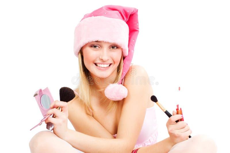 美丽的辅助工圣诞老人 免版税库存图片