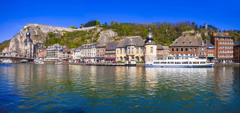 美丽的迪南镇全景在比利时 免版税库存照片