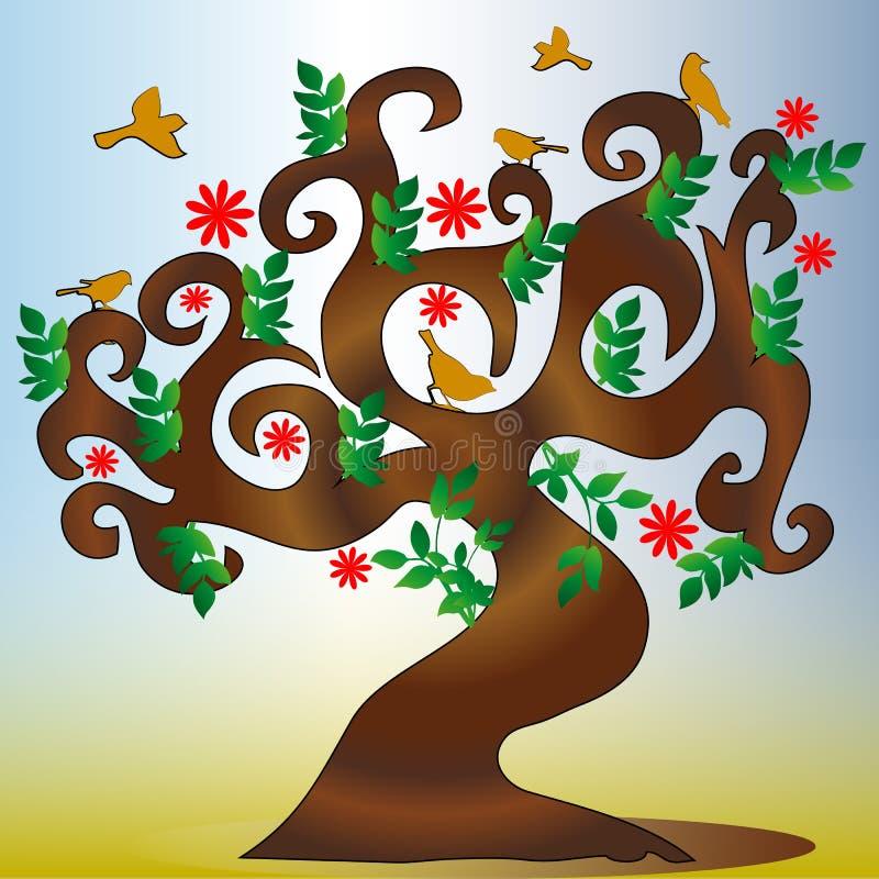 美丽的道德树剪影和鸟坐分支 皇族释放例证