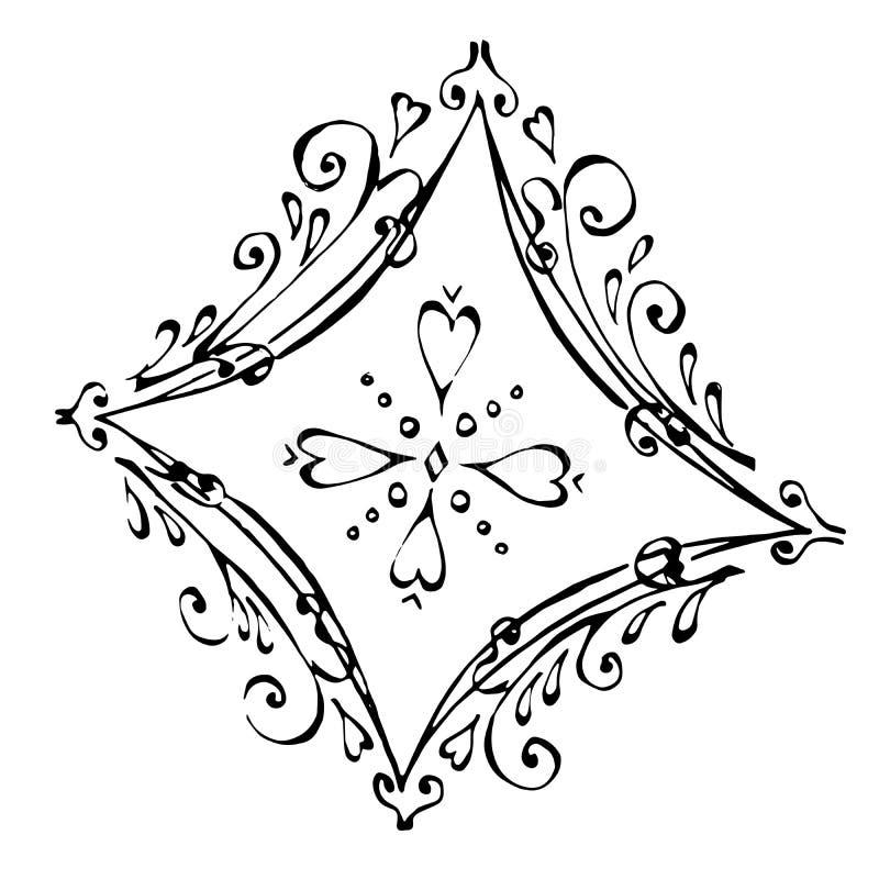 美丽的金刚钻石在黑白颜色的 向量例证