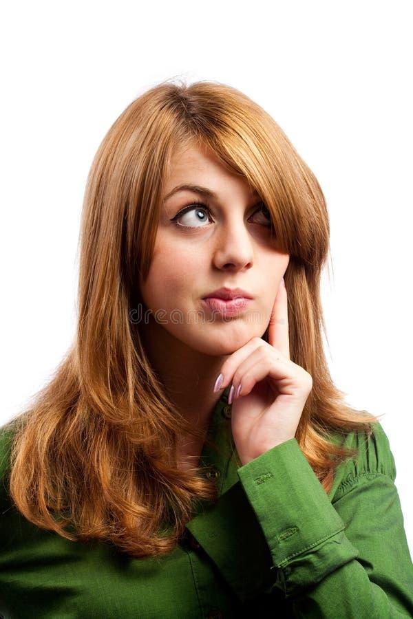 美丽的金发碧眼的女人查出的白色 库存照片