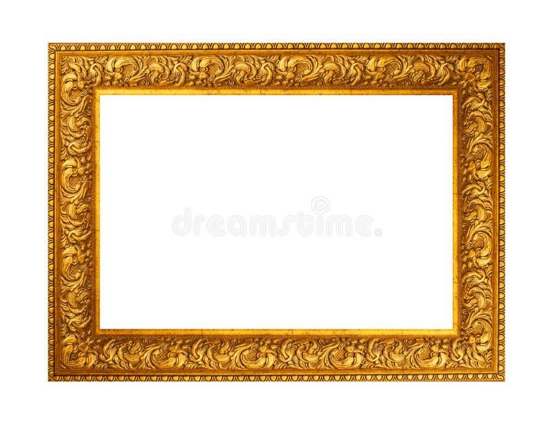 美丽的金子在白色背景隔绝的被镀的木制框架 免版税库存照片