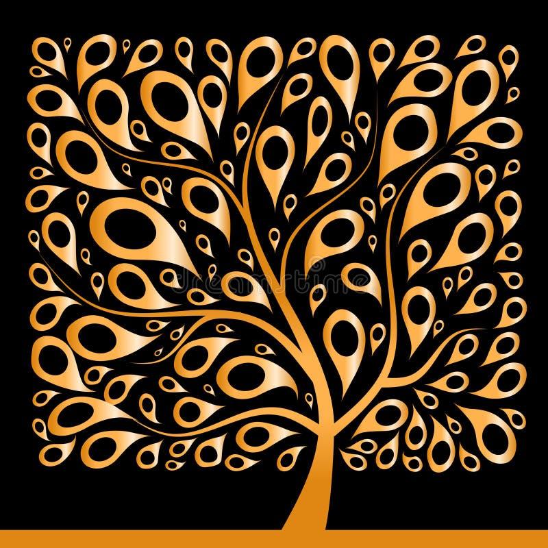 美丽的金黄形状正方形结构树 皇族释放例证
