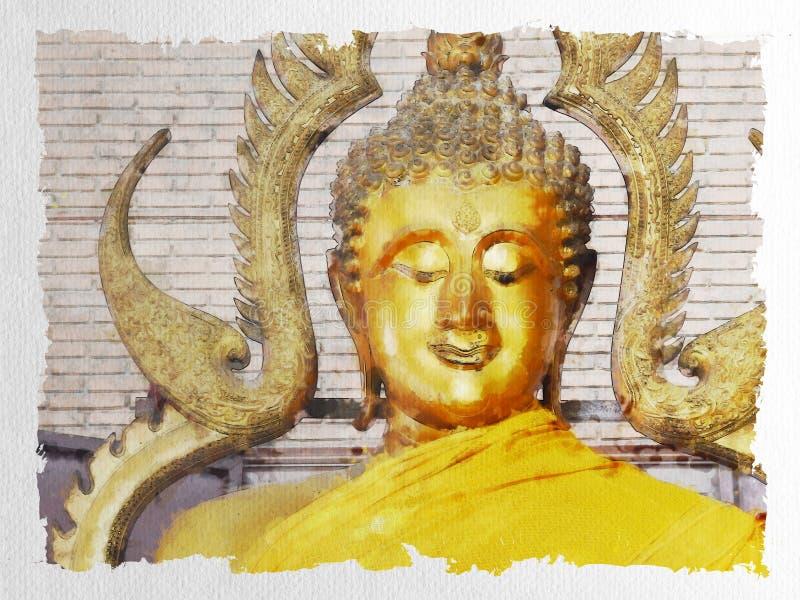 美丽的金黄菩萨雕象水彩  皇族释放例证