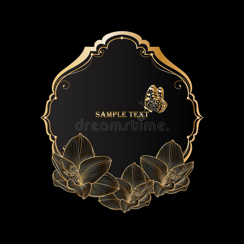 美丽的金黄与花孤挺花和蝴蝶的葡萄酒花卉框架 图库摄影