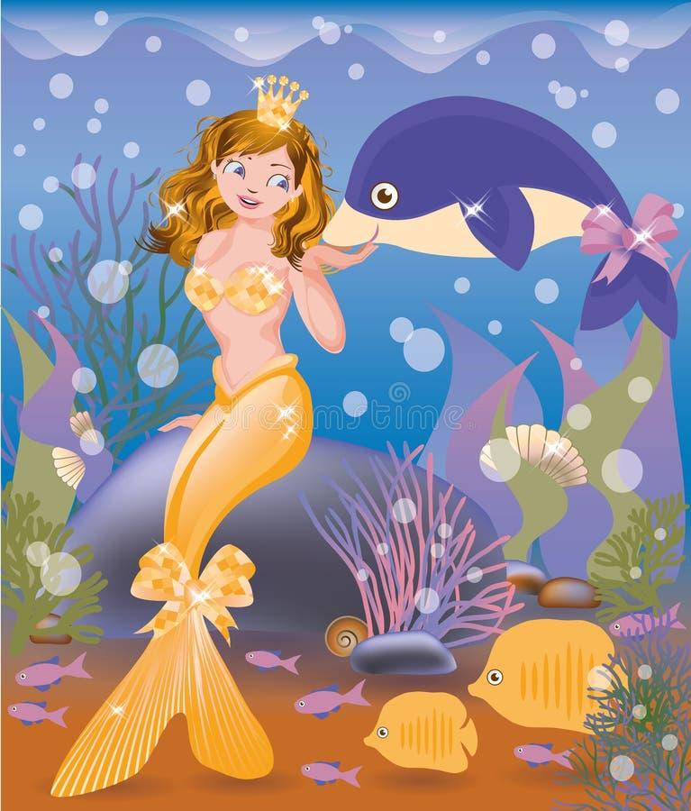 美丽的金黄美人鱼女孩和海豚 向量例证