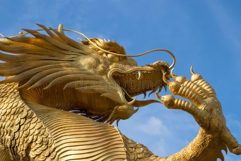 美丽的金黄龙雕象强迫了力量金天空黄色 库存图片