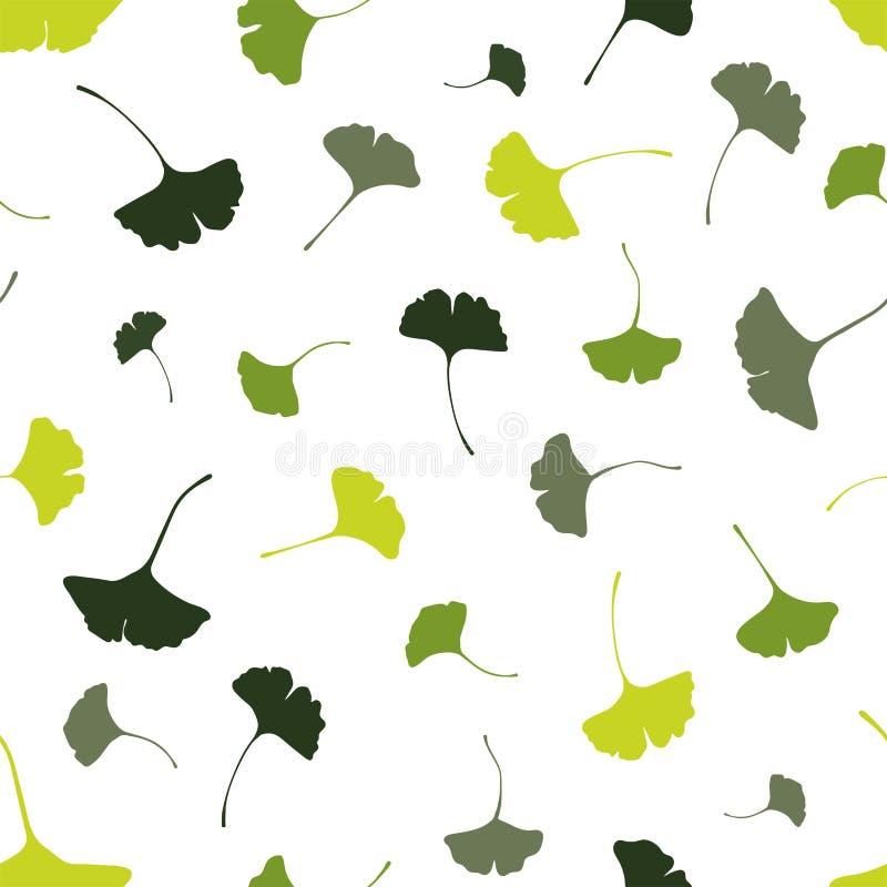 美丽的银杏树离开无缝的样式,自然绿色秋天背景-伟大为时尚印刷品,健康和美容品, 向量例证