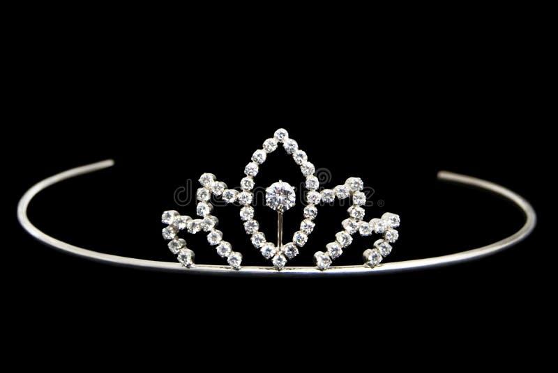 美丽的银色冠状头饰,装饰用金刚石 库存图片