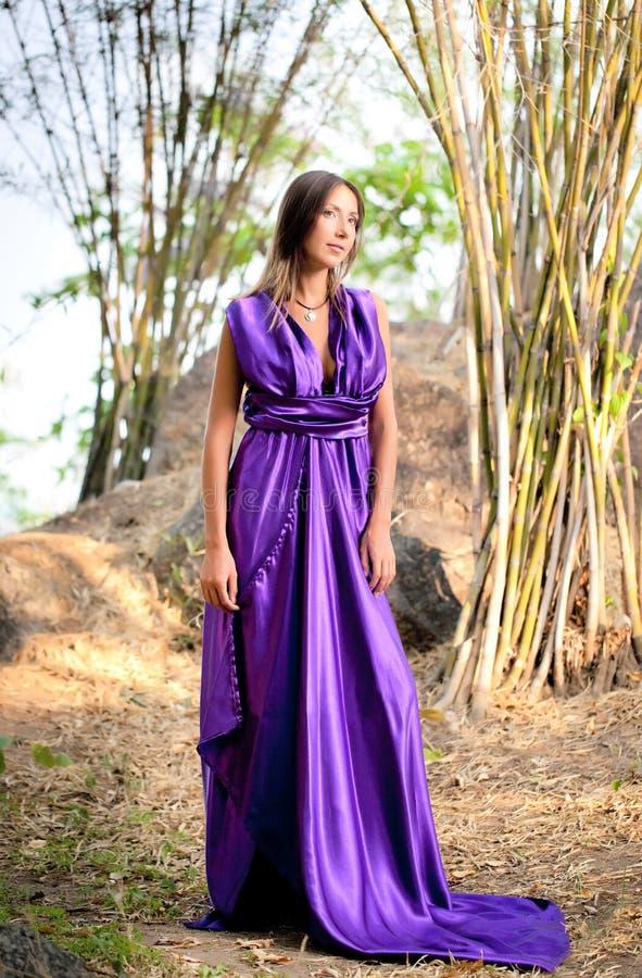 美丽的长期礼服紫色佩带的妇女 免版税库存照片