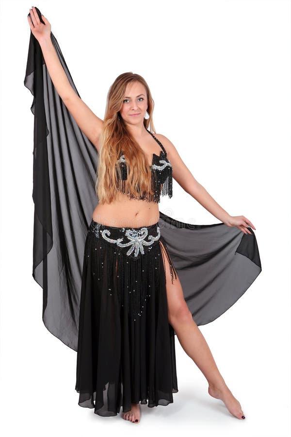美丽的长期腹部白肤金发的舞蹈演员&# 免版税库存照片