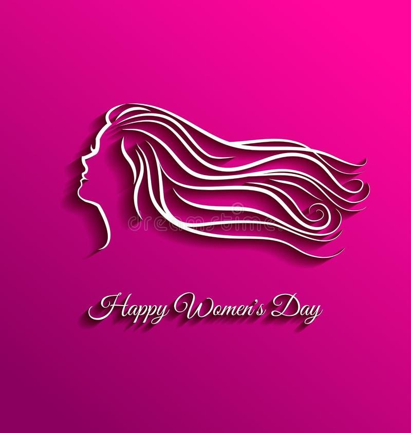 美丽的长的头发为国际妇女天 库存例证