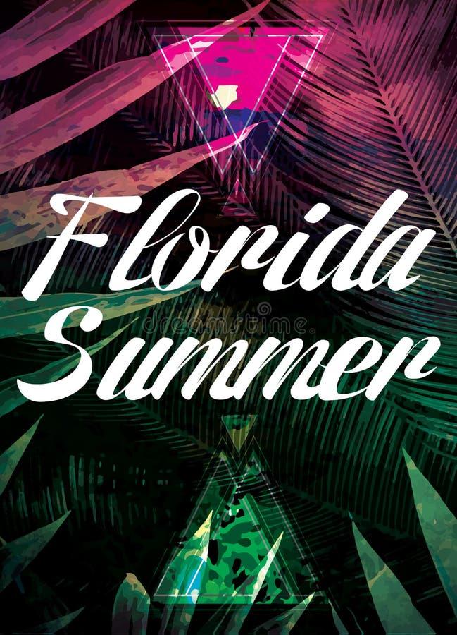 美丽的阳光视图海报 与棕榈树的传染媒介背景 库存例证