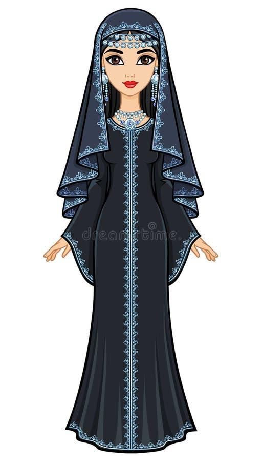 美丽的阿拉伯妇女的动画画象古老衣服的:长的礼服,面纱 向量例证