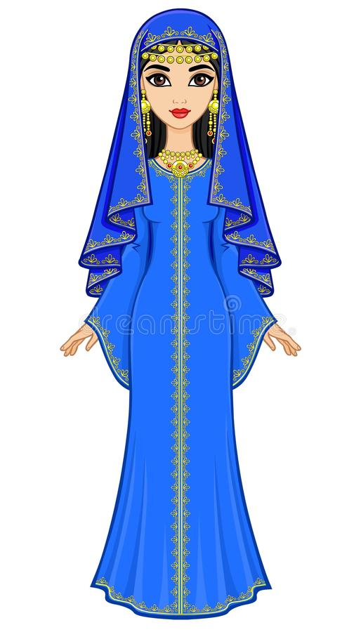 美麗的阿拉伯婦女的動畫畫象古老衣服的:長的禮服,面紗 皇族釋放例證圖片