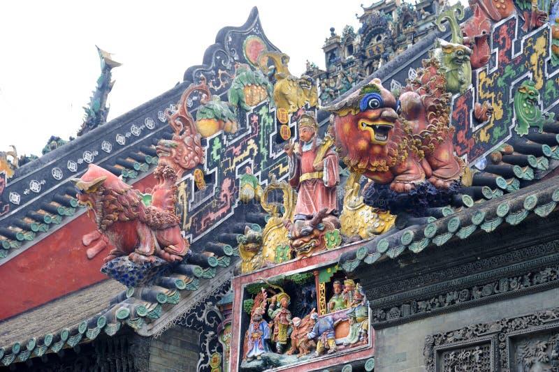 美丽的陈・广州s雕塑寺庙 免版税库存图片