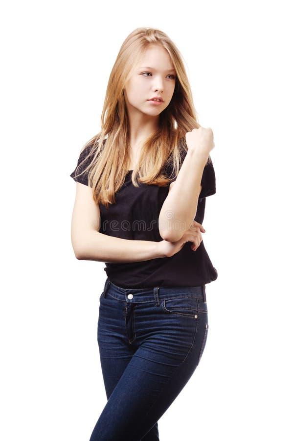 美丽的青少年的女孩画象 免版税库存照片