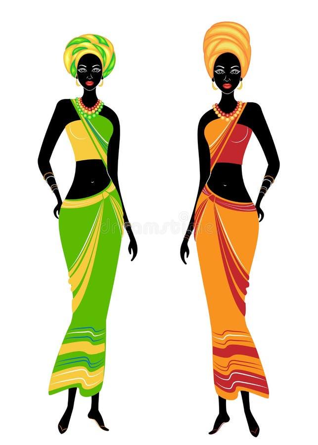 美丽的非裔美国人的夫人的一汇集 女孩有明亮的衣裳,在他们的头的一条头巾 妇女是年轻和亭亭玉立的 库存例证