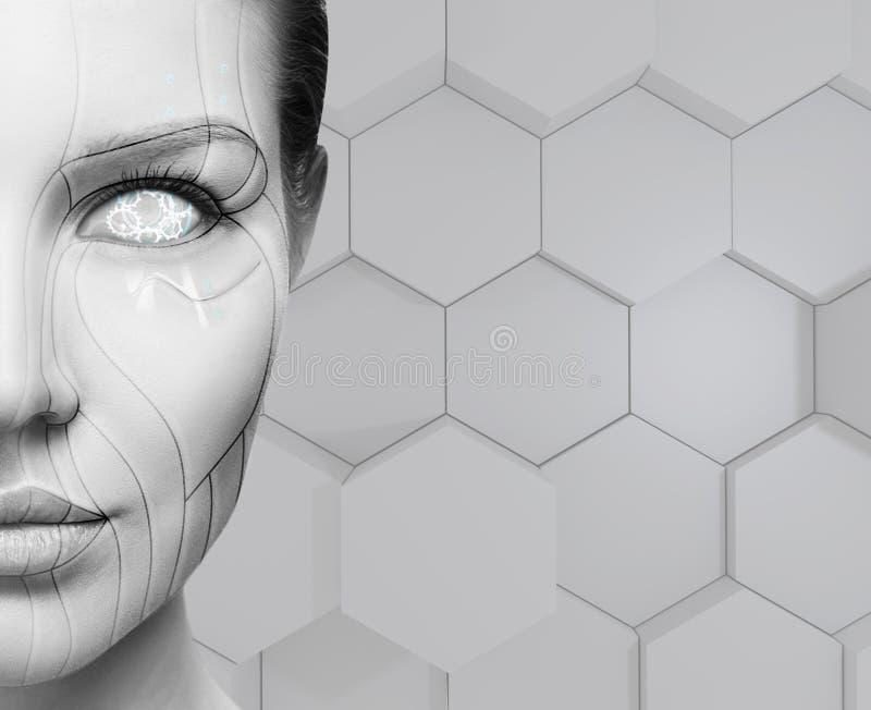 美丽的靠机械装置维持生命的人女性面孔 概念查出的技术白色 库存图片