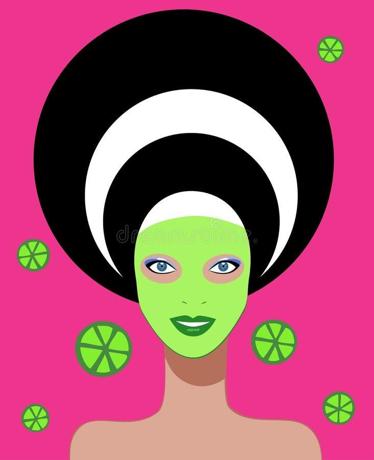 美丽的面部屏蔽温泉妇女 库存例证
