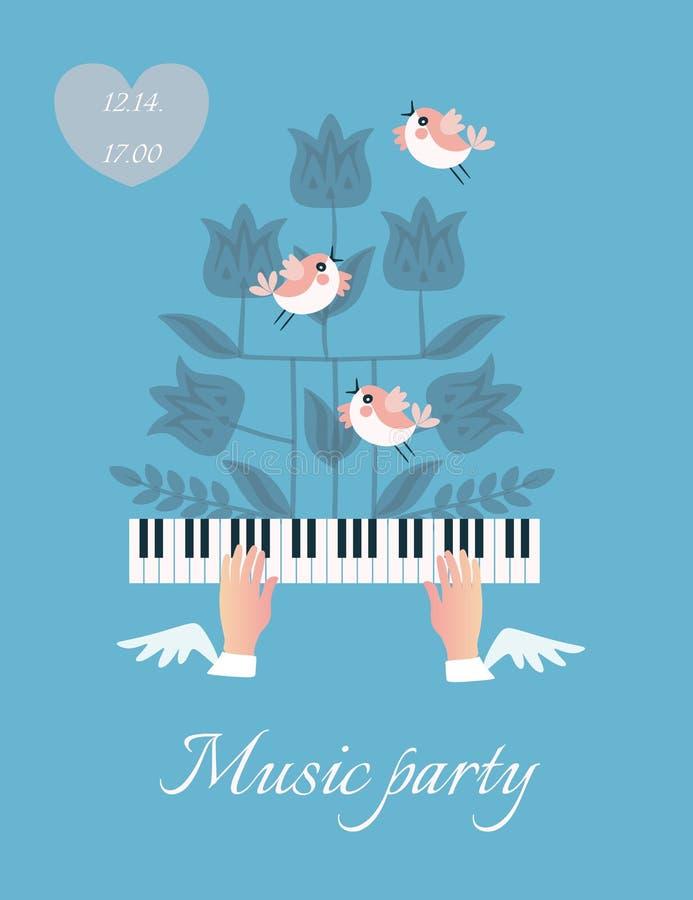 美丽的音乐海报用振翼在钢琴钥匙、滑稽的小的鸟和开花植物的剪影的飞过的手 向量例证
