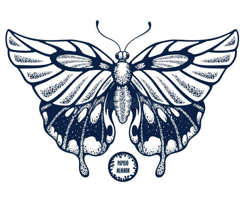 美丽的飞过的蝴蝶 纹身花刺蝴蝶 热带蝴蝶Papilio Memnon 背景黑色关闭设计蛋炸锅衬衣t 鸟逗人喜爱的例证集合葡萄酒 库存例证