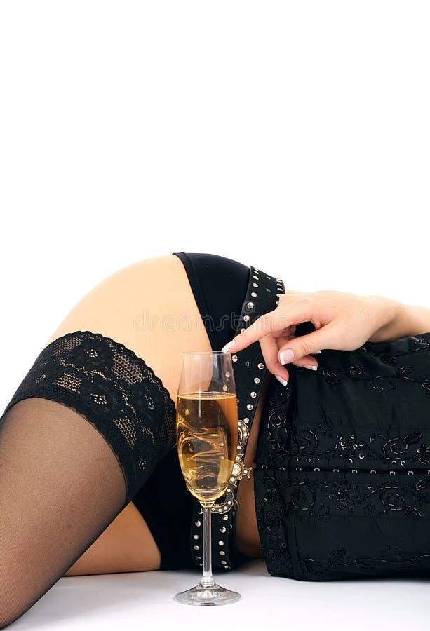 美丽的香槟玻璃臀部 库存图片