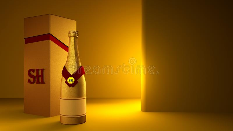 Beautiful yellow background with a bottle of champagne gold, matte packaging and stylish interior 皇族释放例证
