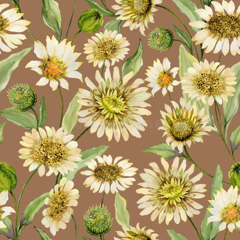 美丽的黄色雏菊开花与在浅褐色的背景的绿色叶子 无缝的春天模式 多孔黏土更正高绘画photoshop非常质量扫描水彩 皇族释放例证