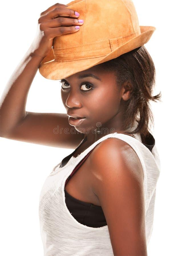 美丽的黑色女孩年轻人 免版税库存照片
