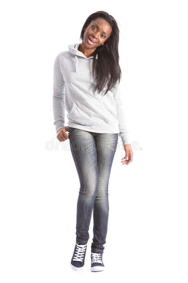 美丽的黑色女孩牛仔裤学员毛线衣 库存图片