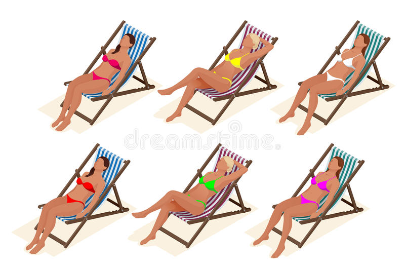 美丽的年轻亭亭玉立的妇女在海附近sunbed的,海滩,暑假,等量性感的女孩的海滩晒日光浴 库存例证
