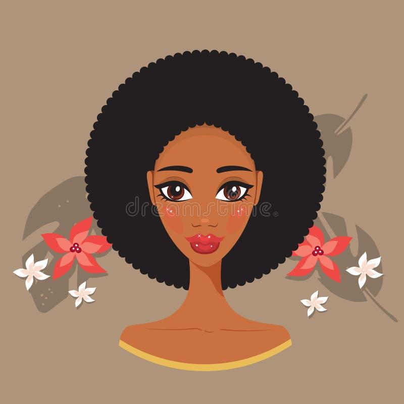 年轻美丽的黑人妇女非洲温泉和秀丽治疗概念 皇族释放例证