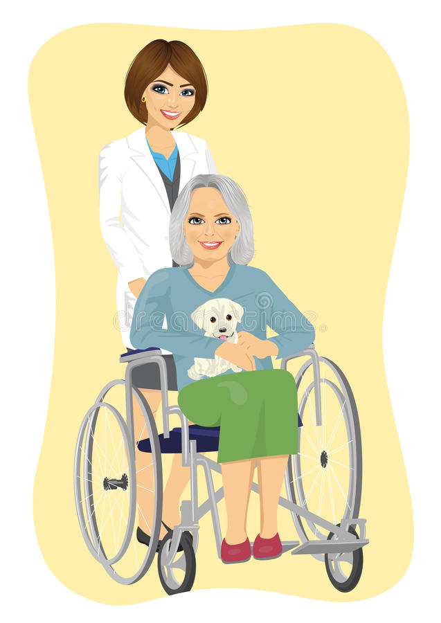 美丽的年轻人护理推挤有逗人喜爱的拉布拉多小狗的资深妇女在轮椅 皇族释放例证