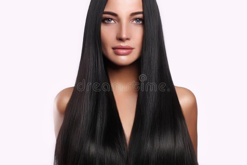 美丽的头发长期组成妇女 免版税库存照片