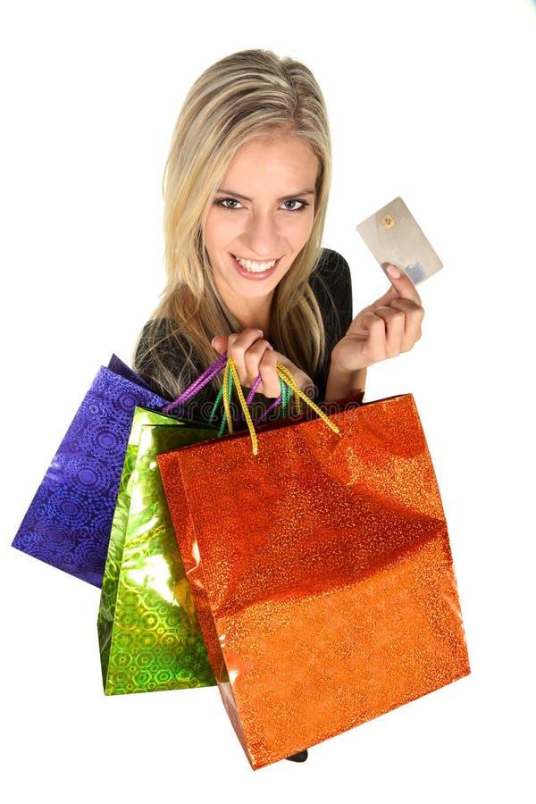 美丽的年轻购物夫人 免版税库存图片