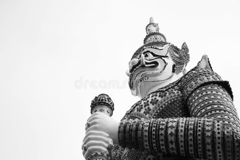 美丽的黑白特写镜头在wat arun bkk的巨人 泰国 免版税库存照片