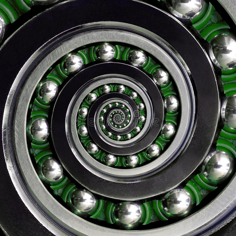 美丽的绿色笼子具体异常的工业顺时针螺旋滚珠轴承 双重螺旋轴承制造技术 Ab 免版税库存照片