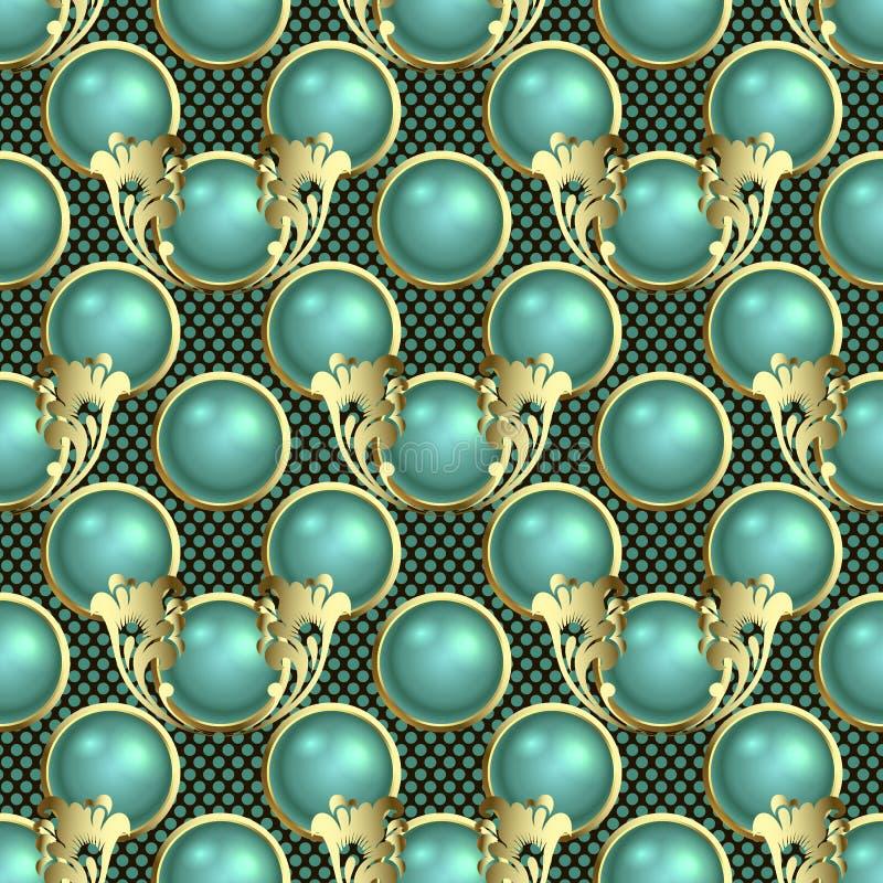 美丽的3d球形无缝的样式 传染媒介装饰织地不很细圆点背景 与金框架的绿松石3d球 向量例证