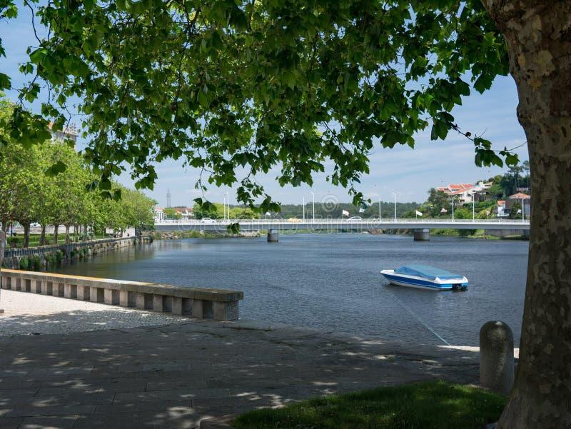美丽的Ave河在树,孔迪镇,波尔图,葡萄牙下 库存图片