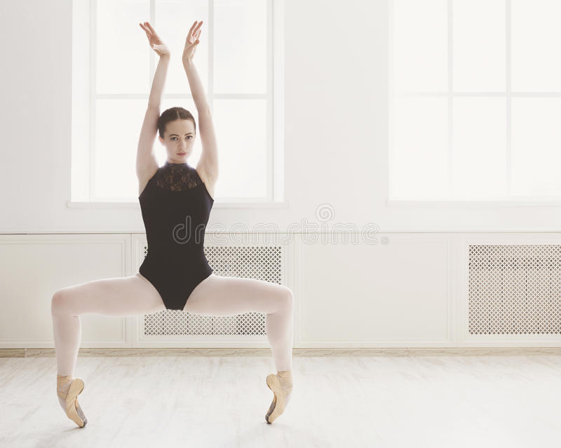 美丽的ballerine在芭蕾plie位置站立 免版税图库摄影